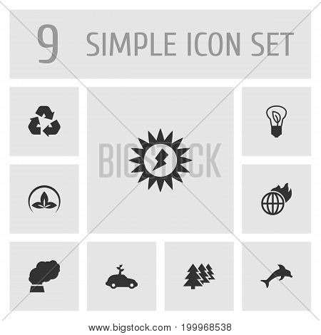 Collection Of Friendly, Energy, Reforestation And Other Elements.  Set Of 9 Ecology Icons Set.