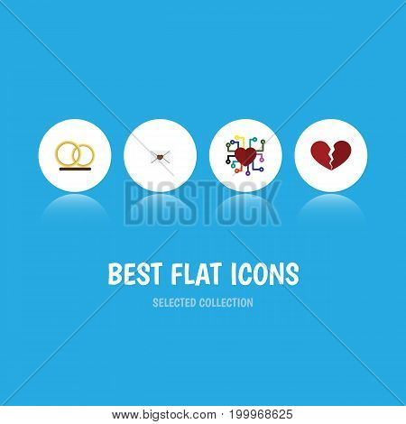Flat Icon Love Set Of Divorce, Ring, Letter And Other Vector Objects