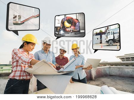 Multi-ethnic diverse group of construction development project partner meeting at building site work on strategy or renovation plan. Industrial team civil engineer teamwork or house builder concept
