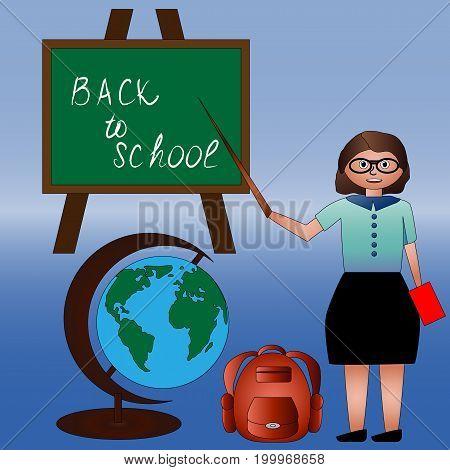 A set of return to school, teacher, globe, backpack, book, school board. Autumn, school time