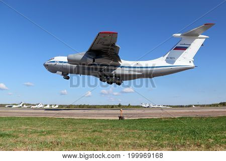 Migalovo, Tver Region, Russia - May 6, 2014: Russian air force Ilyushin IL-76MD RA-76771 at Migalovo airfiled departing Victory Day parade.