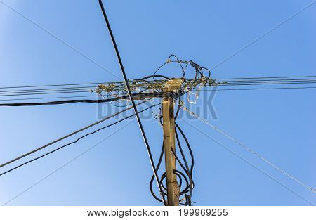 Close-up of old Power Lines in front of a blue Sky. View on of a high-voltage Power Lines in front of a clear Sky. Natural Backgrounds.