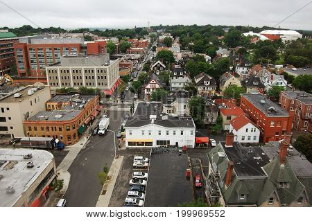Aerial view of Brown University, from Brown University Sci Library, Providence, Rhode Island, USA.