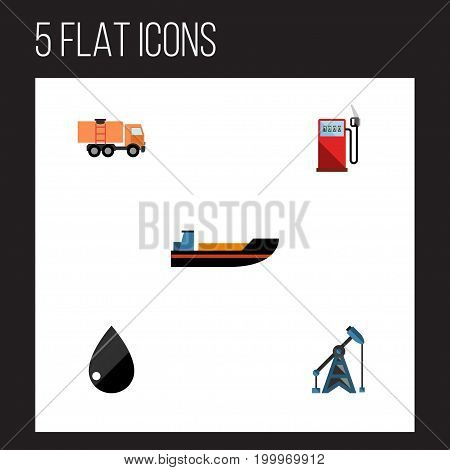Flat Icon Fuel Set Of Rig, Van, Petrol And Other Vector Objects
