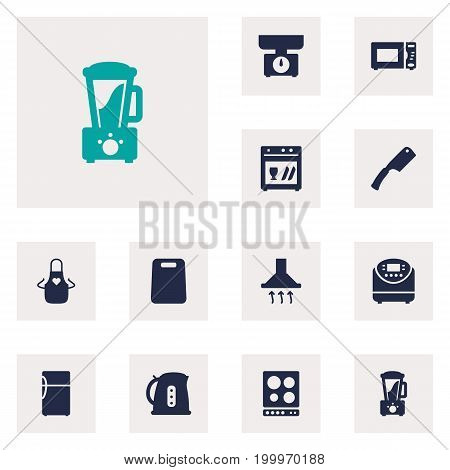 Collection Of Oven, Cooking, Washing Machine And Other Elements.  Set Of 12 Cooking Icons Set.