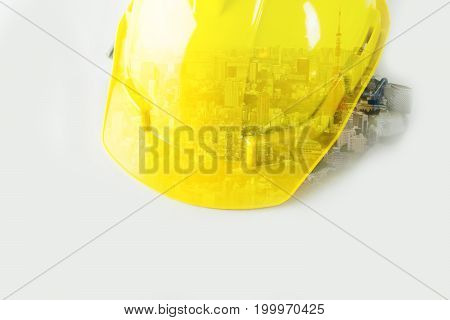 Safety Helmet with double exposure city on white