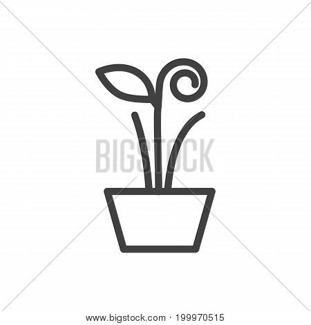 Vector Plant Element In Trendy Style.  Isolated Flowerpot Outline Symbol On Clean Background.