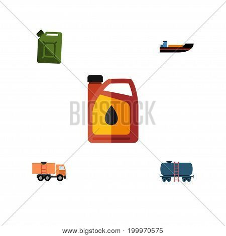 Flat Icon Petrol Set Of Jerrycan, Boat, Fuel Canister And Other Vector Objects