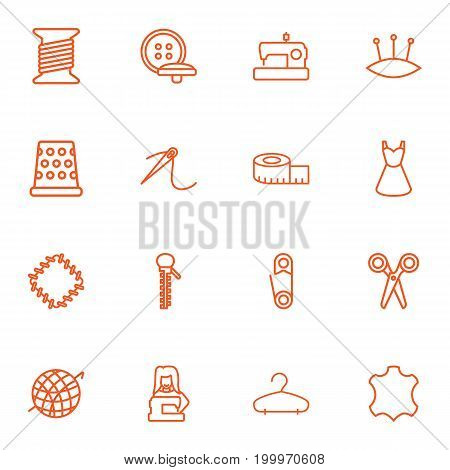 Collection Of Safety Pin, Buttons, Pincushion And Other Elements.  Set Of 16 Stitch Outline Icons Set.