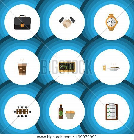 Flat Icon Life Set Of Boardroom, Briefcase, Cappuccino And Other Vector Objects