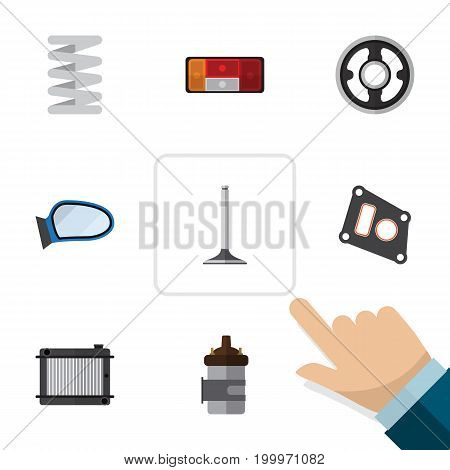 Flat Icon Component Set Of Crankshaft, Absorber, Gasket And Other Vector Objects