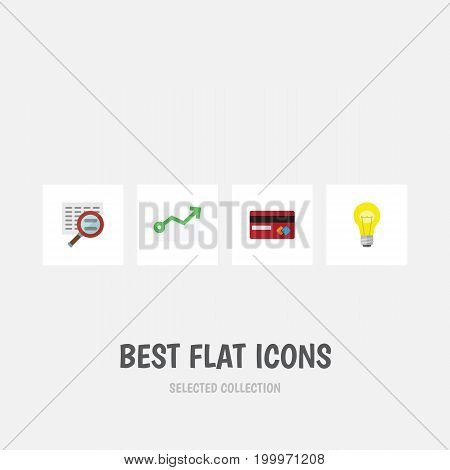 Flat Icon Incoming Set Of Growth, Bubl, Payment And Other Vector Objects