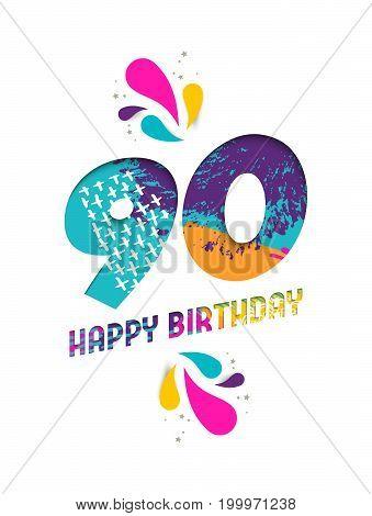 Happy Birthday 90 Year Paper Cut Greeting Card