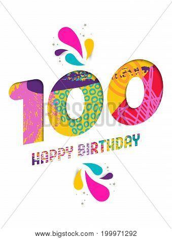 Happy Birthday 100 Year Paper Cut Greeting Card