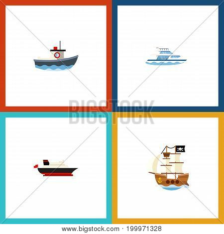 Flat Icon Boat Set Of Cargo, Boat, Transport And Other Vector Objects