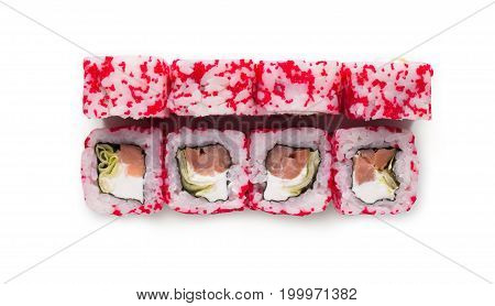 Healthy japanese restaurant food delivery. Set of colorful tuna rolls with soft cheese in pink tobiko isolated at white, closeup. Above view on sushi set