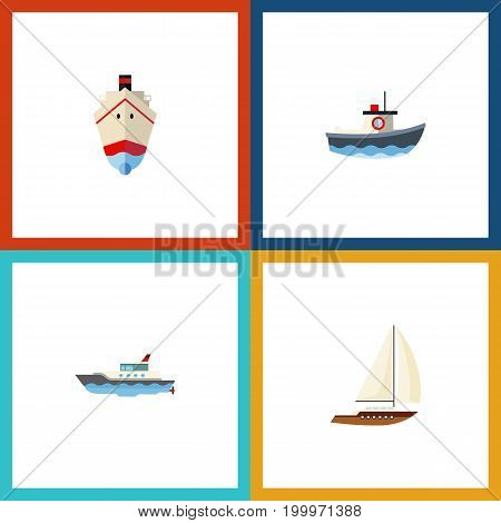 Flat Icon Boat Set Of Transport, Delivery, Sailboat And Other Vector Objects