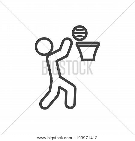 Vector Basket Element In Trendy Style.  Isolated Basketball Outline Symbol On Clean Background.