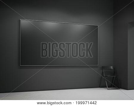 Black blank canvas in the modern dark gallery. 3d rendering