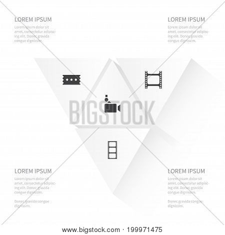 Icon Film Set Of Record, Camera, Entrance And Other Vector Objects