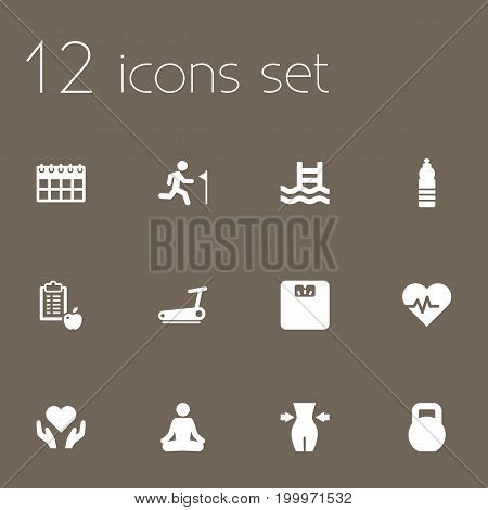 Collection Of Heart In Hand, Body Balance , Weights Elements.  Set Of 12 Training Icons Set.