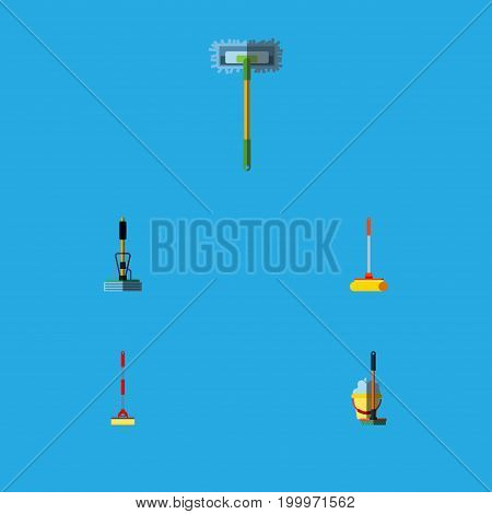 Flat Icon Mop Set Of Besom, Mop, Broom And Other Vector Objects
