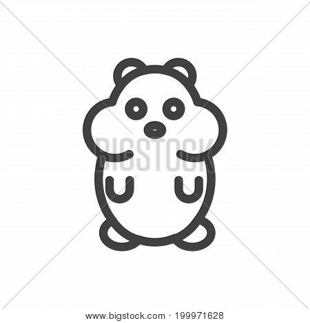 Vector Hamster Element In Trendy Style.  Isolated Rat Outline Symbol On Clean Background.