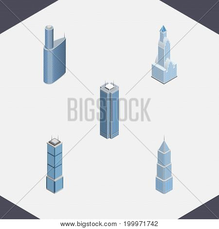 Isometric Skyscraper Set Of Building, Exterior, Skyscraper And Other Vector Objects