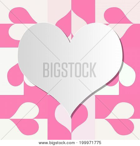 Heart frame for valentine's day with cross weave pink heart background