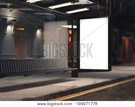 Bus stop with a glowing blank banner on the dark street. 3d rendering