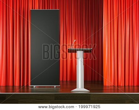 Tribune with a microphone and black rollup banner on red stage. 3d rendering