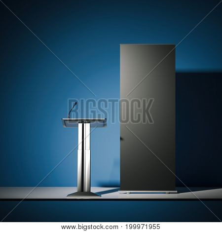 Silver tribune with a microphone and black rollup banner. 3d rendering