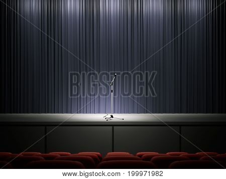 Microphone in the rays of light on a modern stage. 3d rendering