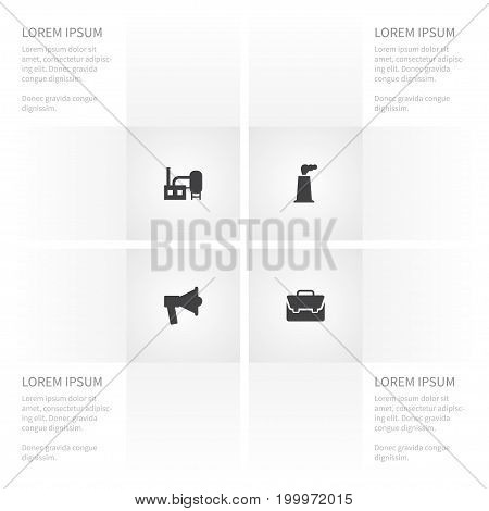 Icon Business Set Of Building, Manufacture, Speaker And Other Vector Objects