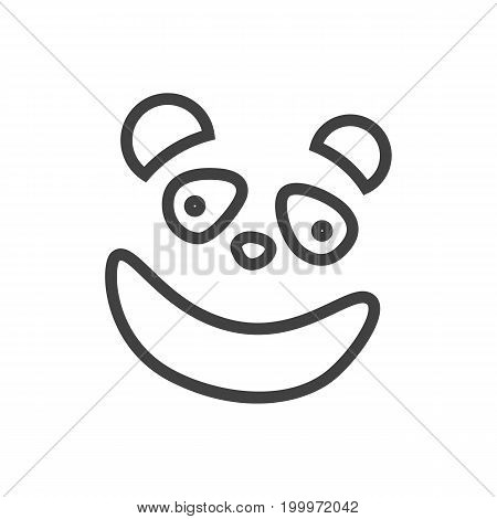 Vector Panda Element In Trendy Style.  Isolated Bear Outline Symbol On Clean Background.