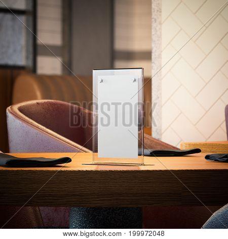 Desktop banner on wooden table in the modern restaurant. 3d rendering