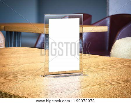 Desktop banner on wooden table in the modern cafe. 3d rendering