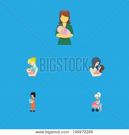 Flat Icon Mother Set Of Parent, Baby, Woman And Other Vector Objects