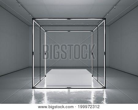 Dark clean gallery with empty modern showcase. 3d rendering