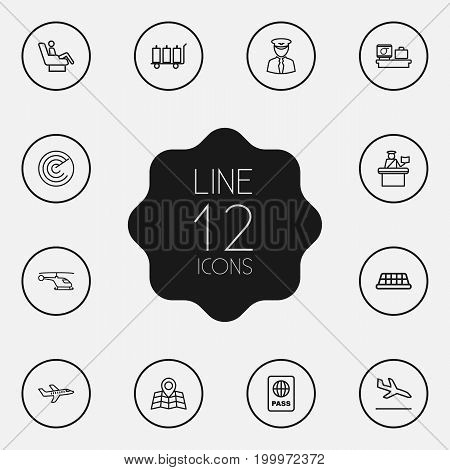 Collection Of Certification, Helicopter, Map And Other Elements.  Set Of 12 Airplane Outline Icons Set.
