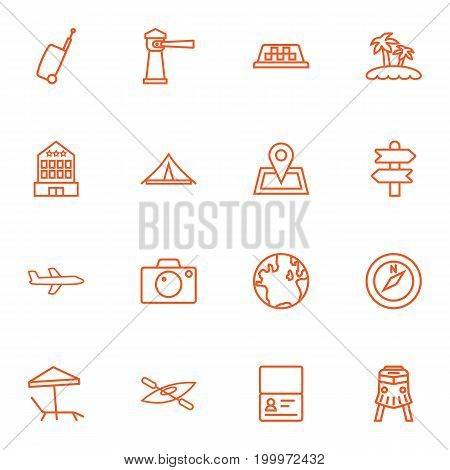Collection Of Palm, Building, Globe And Other Elements.  Set Of 16 Journey Outline Icons Set.