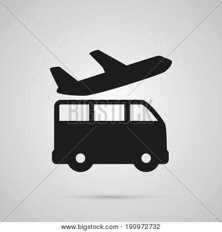 Vector Airport Transfer Element In Trendy Style.  Isolated Bus Icon Symbol On Clean Background.
