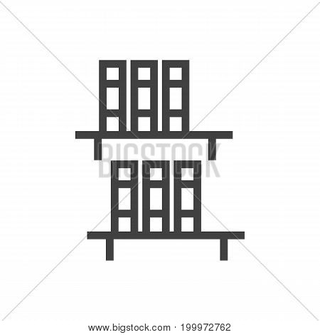 Vector Bookshelf Element In Trendy Style.  Isolated Bookcase Outline Symbol On Clean Background.