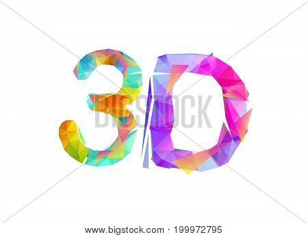 3D. Inscription of vector colorful triangular letters
