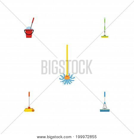 Flat Icon Cleaner Set Of Broomstick, Cleaning, Cleaner And Other Vector Objects