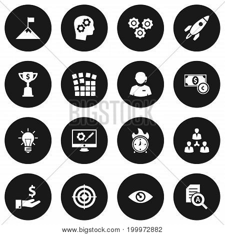 Collection Of Sponsor, Thinking Head, Rocket And Other Elements.  Set Of 16 Startup Icons Set.