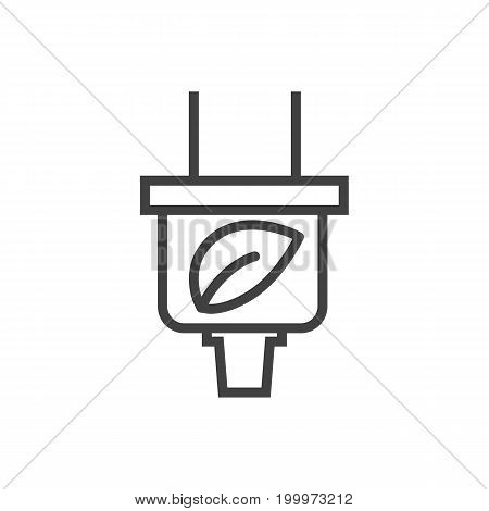 Vector Plug Element In Trendy Style.  Isolated Leaf Outline Symbol On Clean Background.