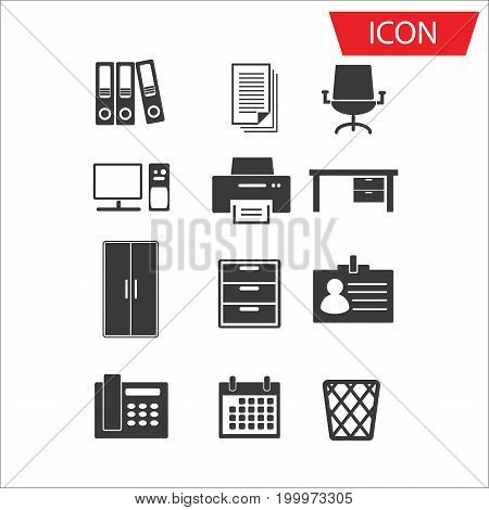 simple set of office related vector icon on white background.