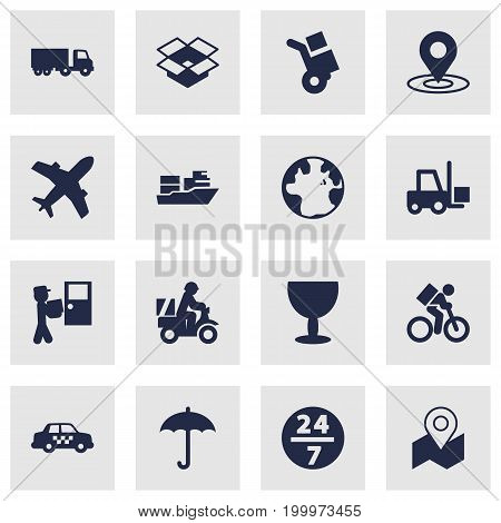 Collection Of Truck, Parcel, Shipping And Other Elements.  Set Of 16 Shipment Icons Set.