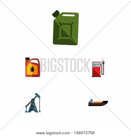 Flat Icon Fuel Set Of Fuel Canister, Petrol, Rig And Other Vector Objects